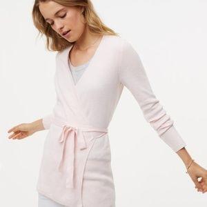 Loft Ballerina Light Pink Tie Waist Wrap Cardigan